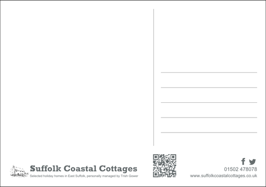 Reverse of A5 postcard for Suffolk Coastal Cottages
