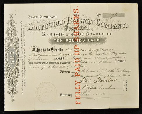 Scan of original share certificate dated 1899