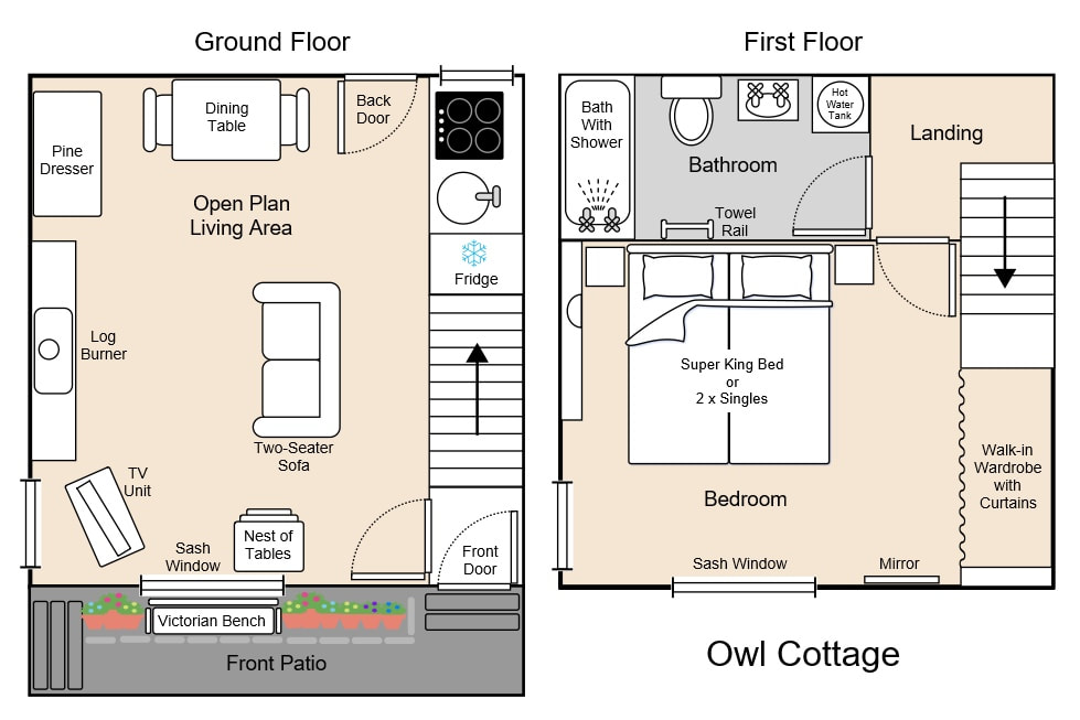 Floor plan created for Owl Cottage